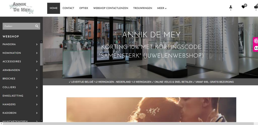screenshot webshop Annik De Mey