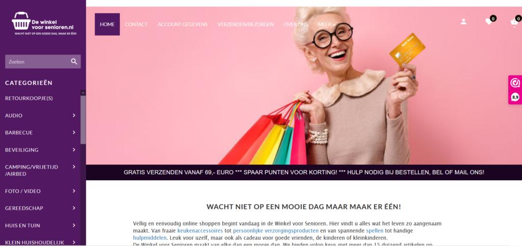 DeWinkelVoorSenioren Webshop Screenshot