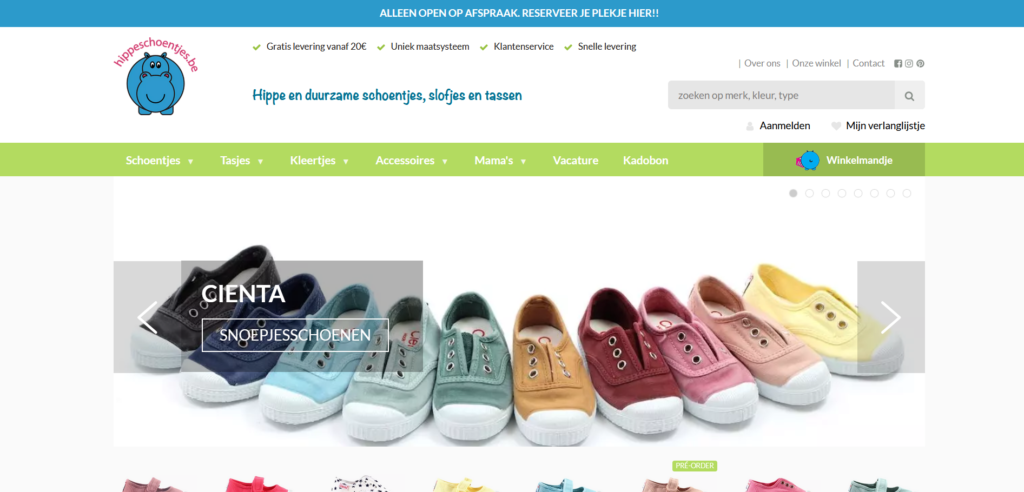 Hippeschoentjes screenshot webshop