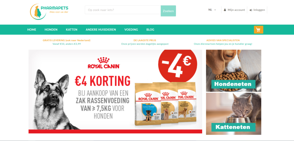 Pharmapets screenshot webshop