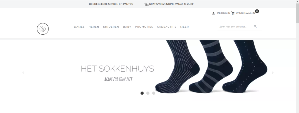 SokkenHuys Webshop screenshot