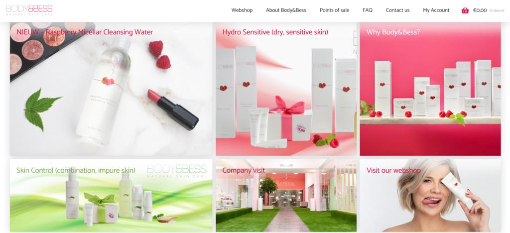 screenshot webshop bodyandbess
